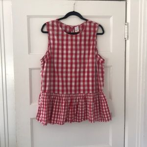 Time and Tru | XXL | Red Gingham Peplum Top